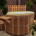 Diametro vasca idromassaggio 180cm con stufa a legna e biofiltro