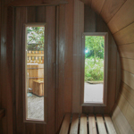 Barrel sauna with 2 windows at the front