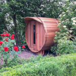 Barrel sauna with a total length of 240cm