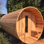 Barrel sauna 420cm with changing room and terrace