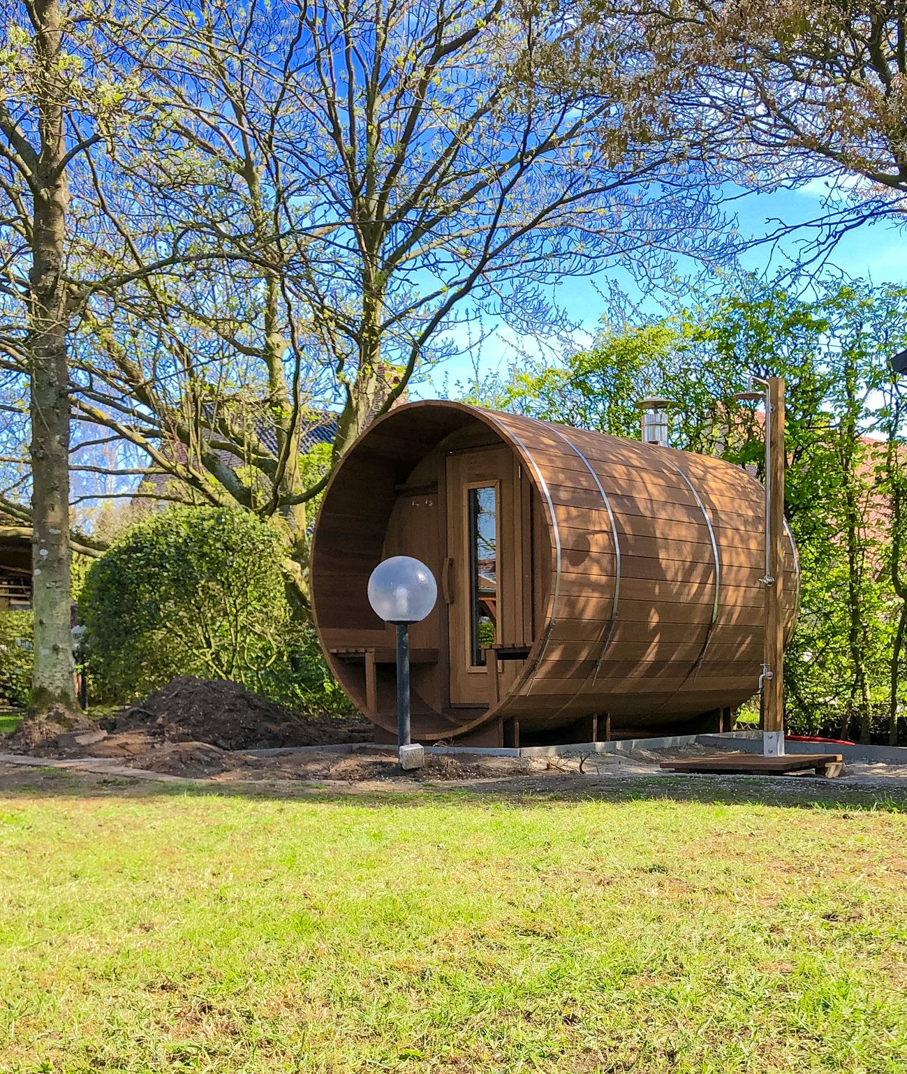 Barrel sauna in knot-free thermowood 300 cm