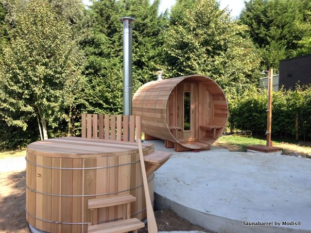 Saunabarrel, hot tub and outdoor shower: realization in Nokere (Flemish Ardennes).