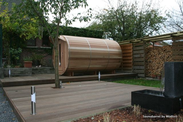 Sauna barrel with changing room: realization in Hasselt.